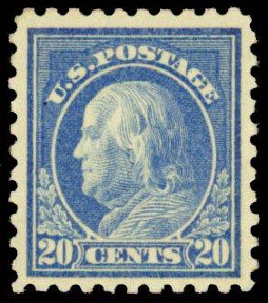 US Stamp Values Scott 476 - 1916 20c Franklin Perf 10. Daniel Kelleher Auctions, May 2015, Sale 669, Lot 3058