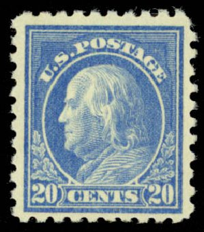 Value of US Stamps Scott Cat. #476: 20c 1916 Franklin Perf 10. Daniel Kelleher Auctions, May 2015, Sale 669, Lot 3059