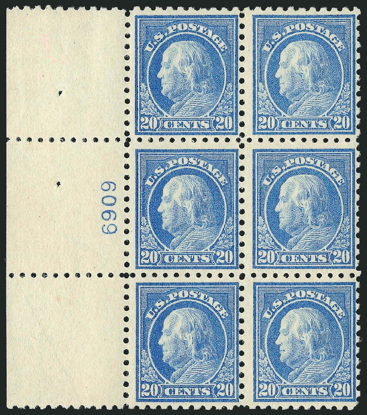 US Stamp Price Scott Cat. 476: 20c 1916 Franklin Perf 10. Robert Siegel Auction Galleries, Sep 2014, Sale 1078, Lot 550