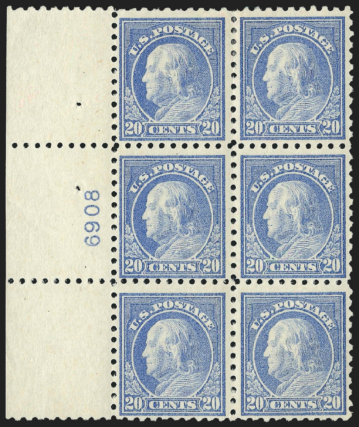 Cost of US Stamps Scott Catalog #476: 20c 1916 Franklin Perf 10. Robert Siegel Auction Galleries, Jul 2015, Sale 1107, Lot 484