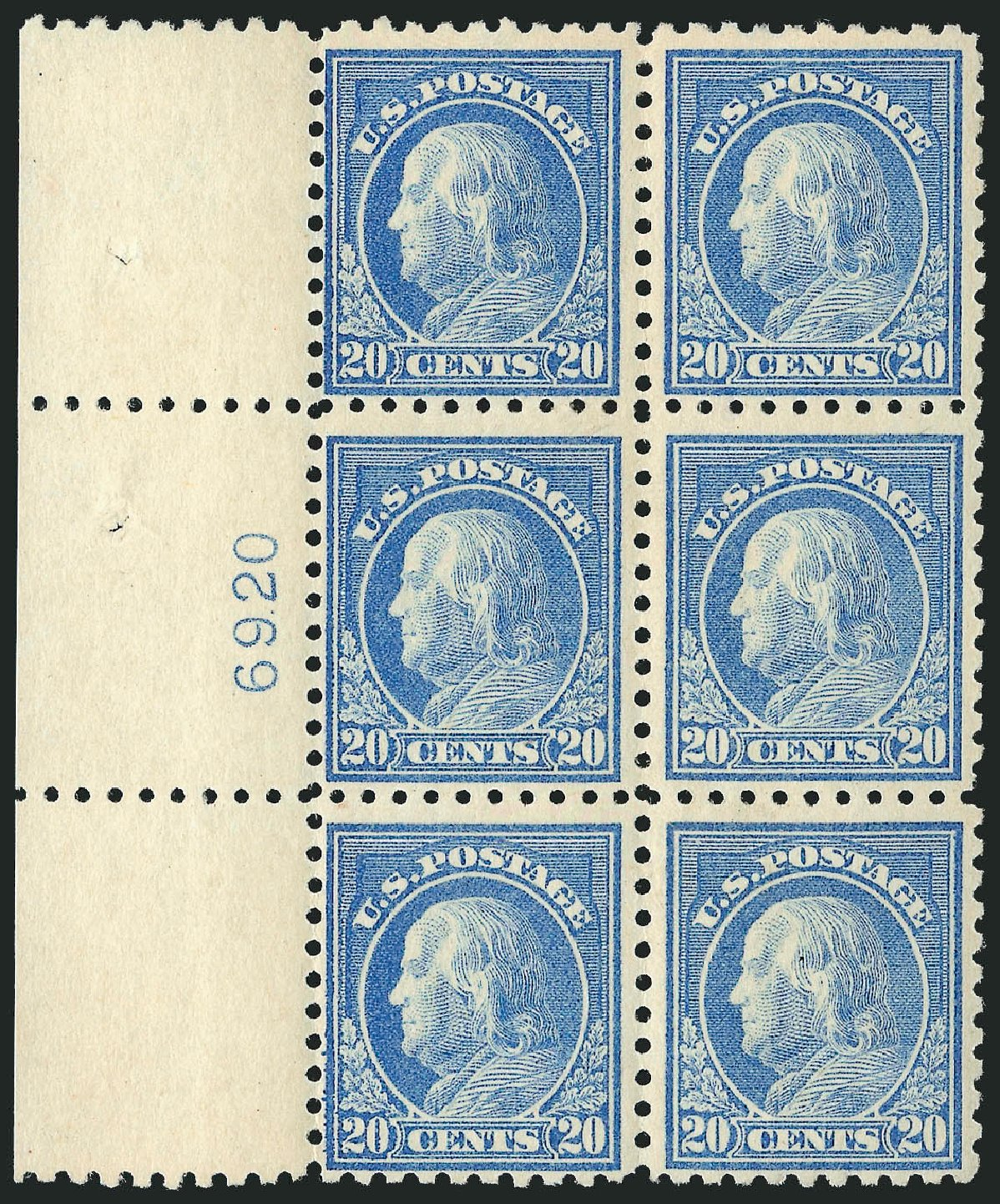 US Stamp Price Scott Cat. # 476: 1916 20c Franklin Perf 10. Robert Siegel Auction Galleries, Feb 2015, Sale 1093, Lot 405