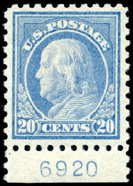 Value of US Stamps Scott Catalogue #476: 20c 1916 Franklin Perf 10. Schuyler J. Rumsey Philatelic Auctions, Apr 2015, Sale 60, Lot 2832