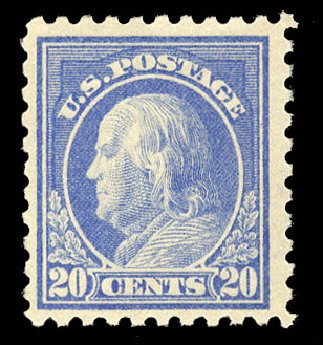 Cost of US Stamps Scott Catalogue 476: 1916 20c Franklin Perf 10. Cherrystone Auctions, Mar 2015, Sale 201503, Lot 53