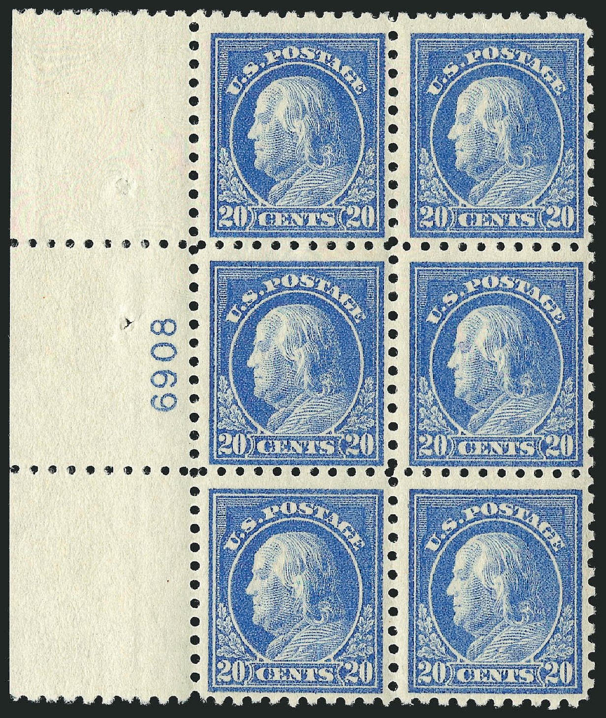 Prices of US Stamp Scott #476 - 1916 20c Franklin Perf 10. Robert Siegel Auction Galleries, Apr 2015, Sale 1096, Lot 723