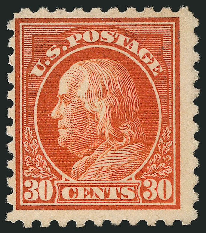 Value of US Stamp Scott # 476A: 1916 30c Franklin Perf 10. Robert Siegel Auction Galleries, Feb 2015, Sale 1093, Lot 407