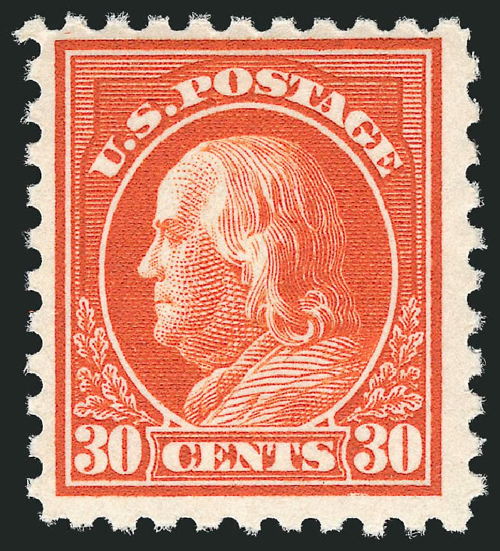 US Stamp Values Scott 476A - 1916 30c Franklin Perf 10. Robert Siegel Auction Galleries, Dec 2014, Sale 1090, Lot 1541