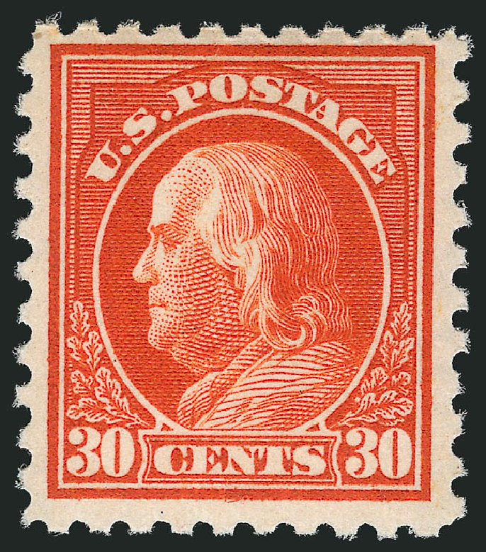 Value of US Stamp Scott # 476A: 1916 30c Franklin Perf 10. Robert Siegel Auction Galleries, Apr 2015, Sale 1096, Lot 724