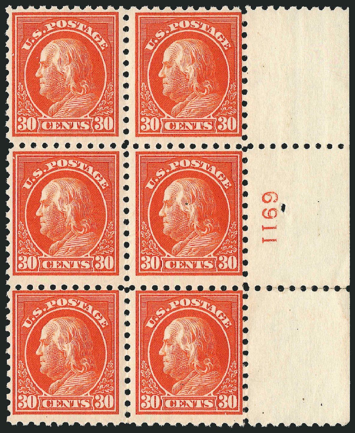 Values of US Stamp Scott Cat. #476A - 30c 1916 Franklin Perf 10. Robert Siegel Auction Galleries, Apr 2015, Sale 1096, Lot 725