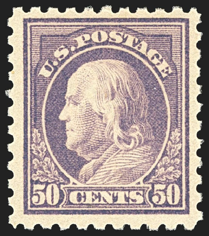 US Stamps Prices Scott Catalogue # 477: 1917 50c Franklin Perf 10. Robert Siegel Auction Galleries, Jul 2015, Sale 1107, Lot 487