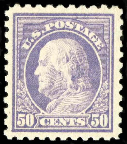 Values of US Stamps Scott 477: 50c 1917 Franklin Perf 10. Spink Shreves Galleries, Jul 2015, Sale 151, Lot 307