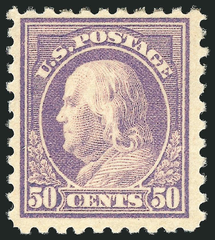 Values of US Stamps Scott #477: 1917 50c Franklin Perf 10. Robert Siegel Auction Galleries, Jul 2015, Sale 1107, Lot 488