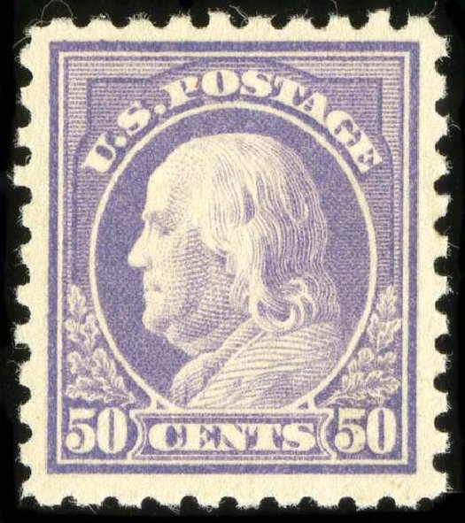 Cost of US Stamps Scott Catalogue 477: 1917 50c Franklin Perf 10. Spink Shreves Galleries, Jul 2015, Sale 151, Lot 308