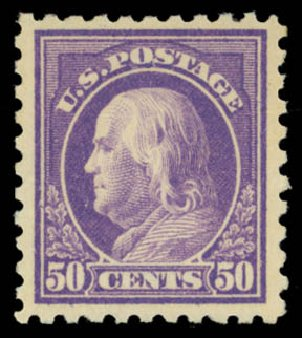 Prices of US Stamps Scott #477 - 50c 1917 Franklin Perf 10. Daniel Kelleher Auctions, May 2015, Sale 669, Lot 3060