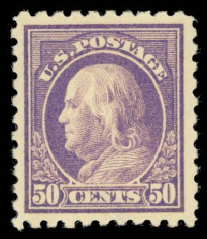 US Stamps Value Scott Catalogue 477 - 1917 50c Franklin Perf 10. Daniel Kelleher Auctions, May 2015, Sale 669, Lot 3061
