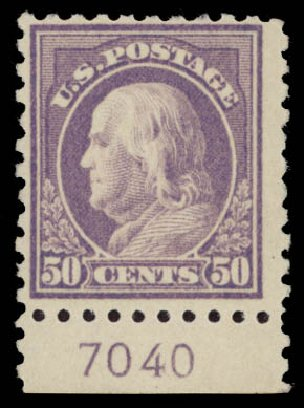 US Stamps Prices Scott Catalogue #477: 50c 1917 Franklin Perf 10. Daniel Kelleher Auctions, May 2015, Sale 669, Lot 3064