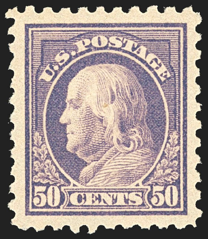 Price of US Stamps Scott Catalog #477: 1917 50c Franklin Perf 10. Robert Siegel Auction Galleries, Jul 2015, Sale 1107, Lot 485