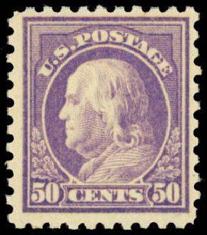 US Stamps Price Scott Cat. 477: 50c 1917 Franklin Perf 10. Daniel Kelleher Auctions, May 2015, Sale 669, Lot 3062
