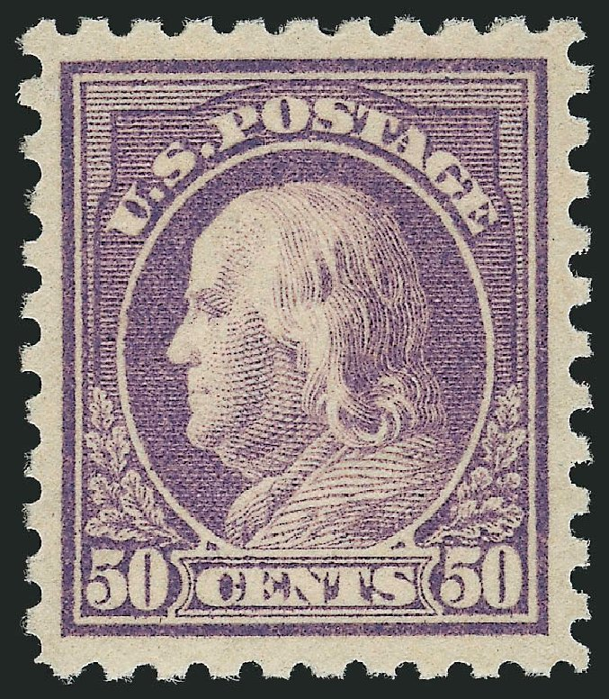 Values of US Stamp Scott # 477 - 1917 50c Franklin Perf 10. Robert Siegel Auction Galleries, Apr 2015, Sale 1096, Lot 726