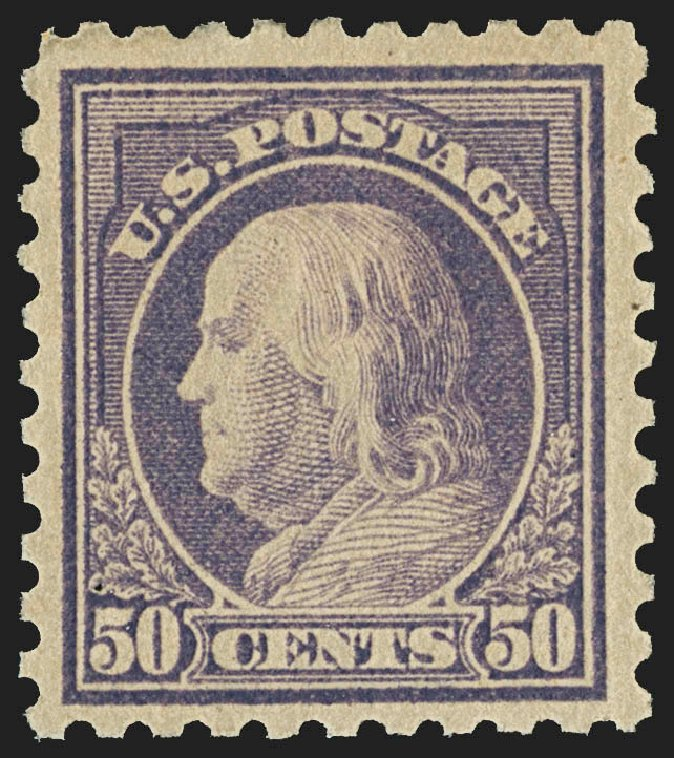 Cost of US Stamp Scott Catalog 477 - 50c 1917 Franklin Perf 10. Robert Siegel Auction Galleries, Jul 2015, Sale 1107, Lot 486