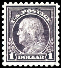 Price of US Stamp Scott #478: US$1.00 1916 Franklin Perf 10. Schuyler J. Rumsey Philatelic Auctions, Apr 2015, Sale 60, Lot 2408