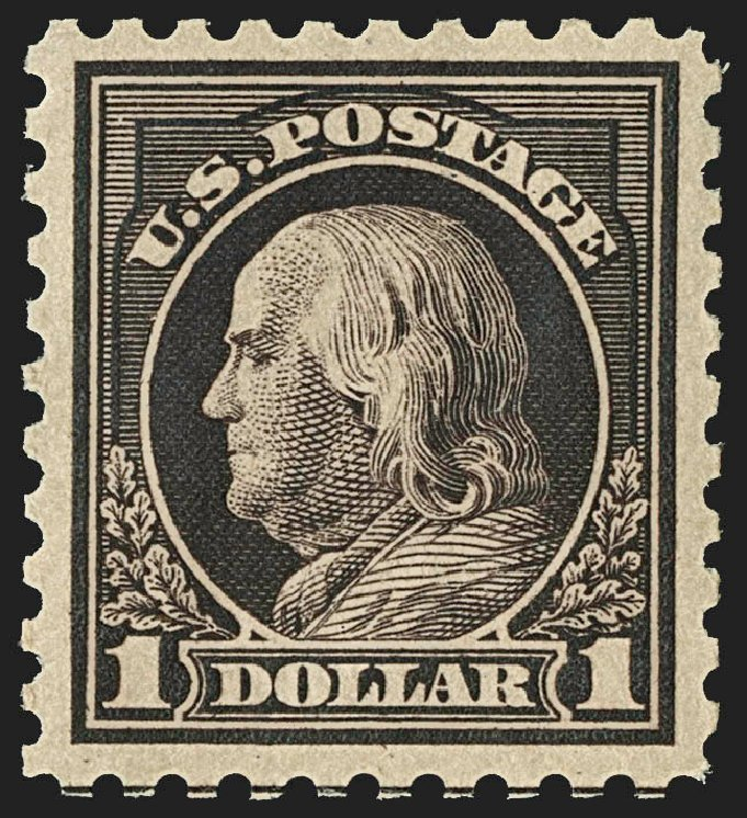 US Stamps Value Scott Catalogue #478: US$1.00 1916 Franklin Perf 10. Robert Siegel Auction Galleries, Jul 2015, Sale 1107, Lot 489