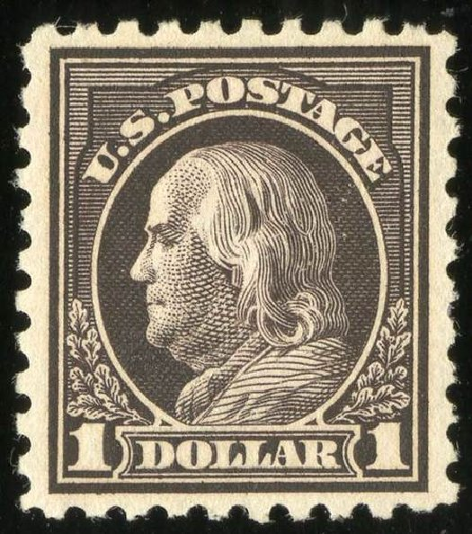 US Stamps Prices Scott Cat. #478 - 1916 US$1.00 Franklin Perf 10. Spink Shreves Galleries, Jul 2015, Sale 151, Lot 309