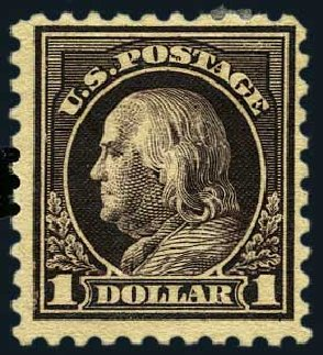 Cost of US Stamp Scott Catalogue #478: US$1.00 1916 Franklin Perf 10. Harmer-Schau Auction Galleries, May 2015, Sale 105, Lot 170