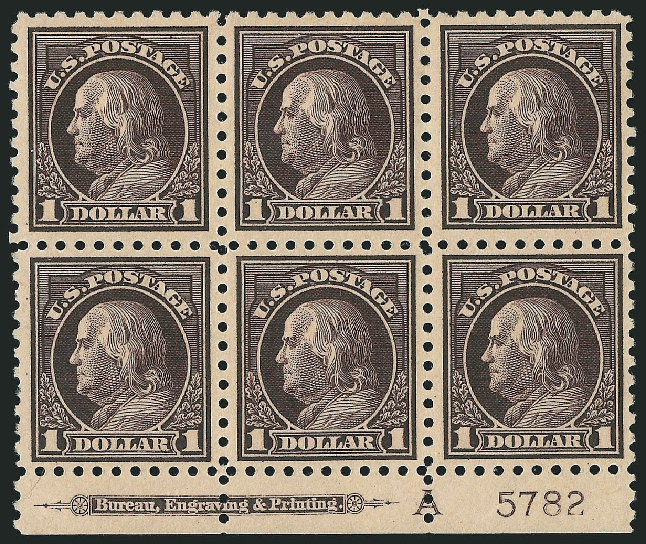 US Stamps Price Scott Catalog 478: US$1.00 1916 Franklin Perf 10. Robert Siegel Auction Galleries, Apr 2015, Sale 1096, Lot 730