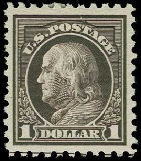 US Stamps Values Scott Cat. # 478 - 1916 US$1.00 Franklin Perf 10. H.R. Harmer, Jun 2015, Sale 3007, Lot 3341