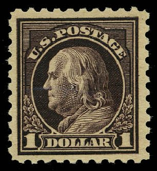 Price of US Stamp Scott Cat. #478: 1916 US$1.00 Franklin Perf 10. Daniel Kelleher Auctions, May 2015, Sale 669, Lot 3065