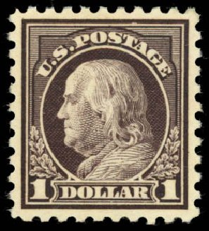 Price of US Stamp Scott Cat. #478: 1916 US$1.00 Franklin Perf 10. Daniel Kelleher Auctions, Aug 2015, Sale 672, Lot 2755
