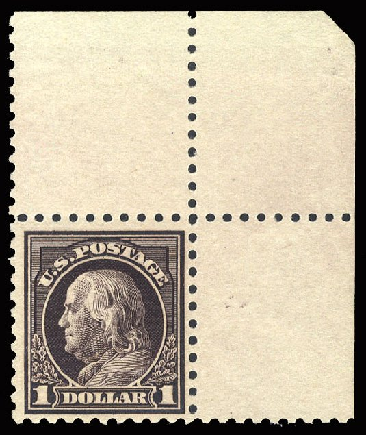 US Stamps Prices Scott Cat. #478 - US$1.00 1916 Franklin Perf 10. Cherrystone Auctions, May 2015, Sale 201505, Lot 42