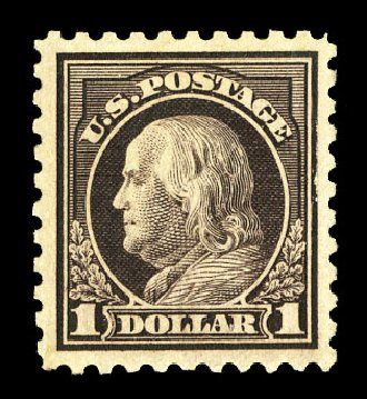 Cost of US Stamps Scott # 478: US$1.00 1916 Franklin Perf 10. Cherrystone Auctions, Jul 2015, Sale 201507, Lot 2162