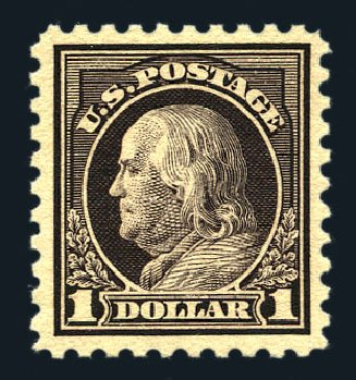 Costs of US Stamp Scott #478: 1916 US$1.00 Franklin Perf 10. Harmer-Schau Auction Galleries, Aug 2015, Sale 106, Lot 1842