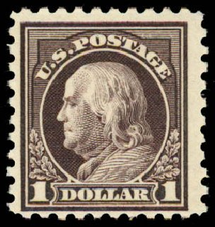 US Stamps Prices Scott # 478: 1916 US$1.00 Franklin Perf 10. Daniel Kelleher Auctions, May 2015, Sale 669, Lot 3066