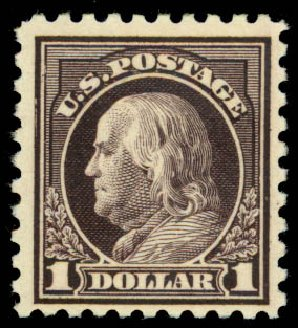 US Stamps Prices Scott Catalogue 478 - US$1.00 1916 Franklin Perf 10. Daniel Kelleher Auctions, Aug 2015, Sale 672, Lot 2756