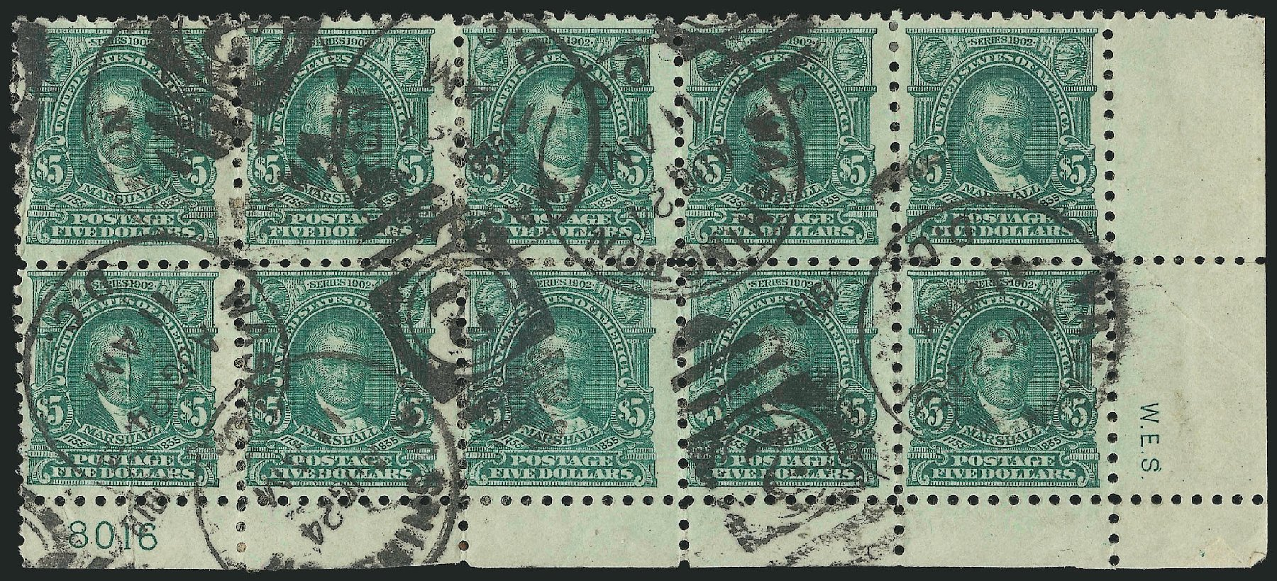 US Stamps Value Scott Catalog #480: 1917 US$5.00 Marshall Perf 10. Robert Siegel Auction Galleries, Feb 2015, Sale 1093, Lot 418