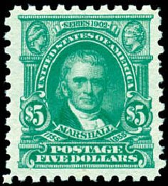 US Stamps Value Scott Catalog #480: US$5.00 1917 Marshall Perf 10. Schuyler J. Rumsey Philatelic Auctions, Apr 2015, Sale 60, Lot 2410