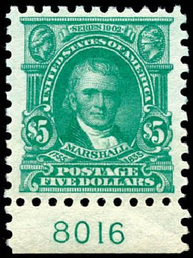 US Stamps Value Scott Cat. 480 - US$5.00 1917 Marshall Perf 10. Schuyler J. Rumsey Philatelic Auctions, Apr 2015, Sale 60, Lot 2834