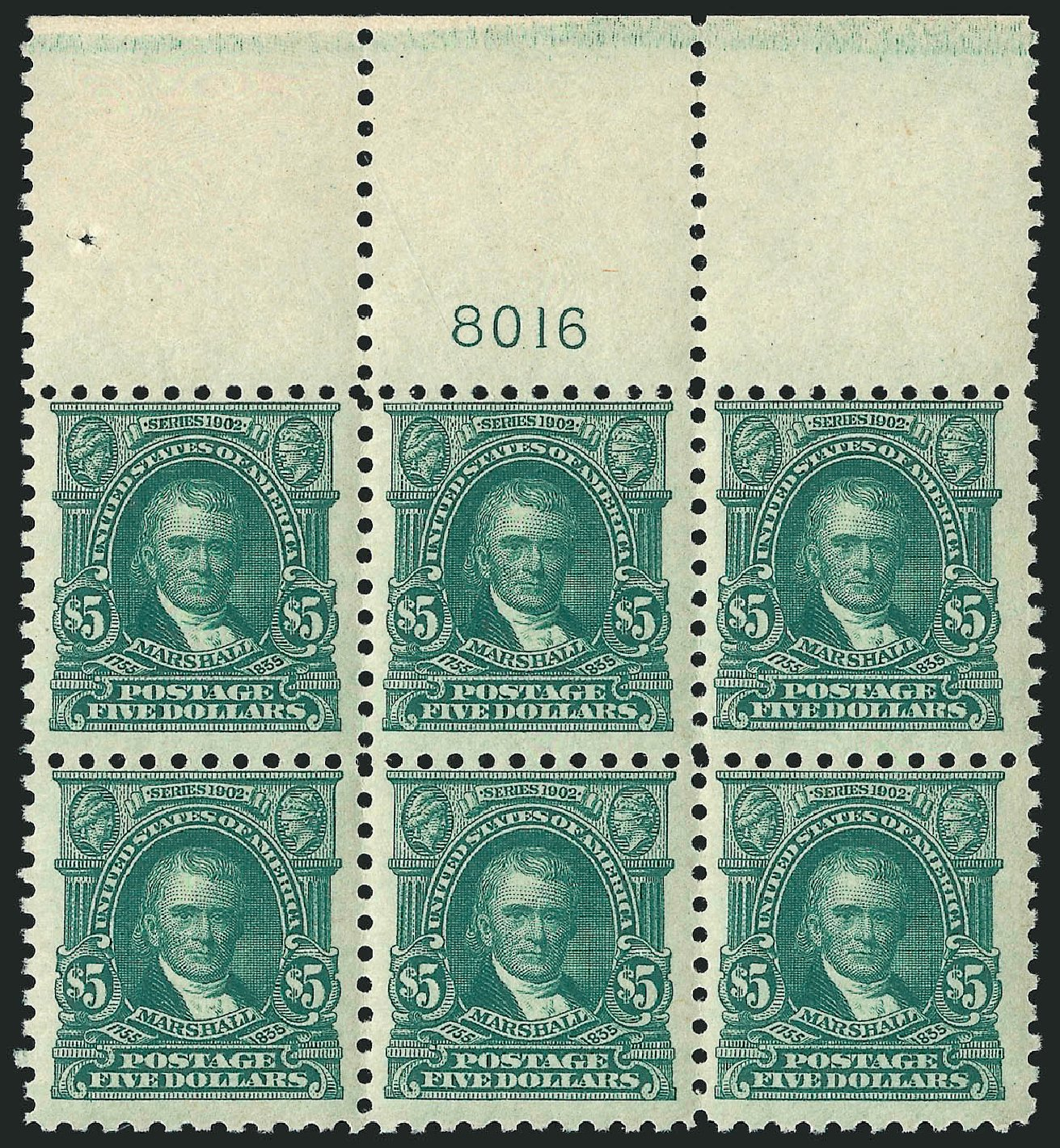 US Stamp Values Scott Catalogue # 480 - 1917 US$5.00 Marshall Perf 10. Robert Siegel Auction Galleries, Apr 2015, Sale 1096, Lot 734