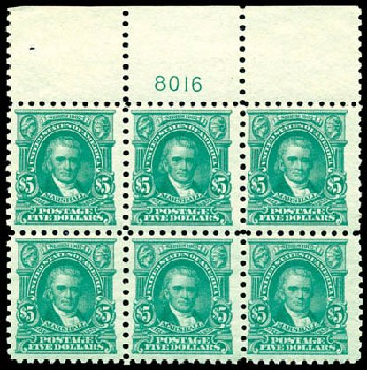US Stamp Values Scott Catalog #480 - US$5.00 1917 Marshall Perf 10. Schuyler J. Rumsey Philatelic Auctions, Apr 2015, Sale 60, Lot 2923