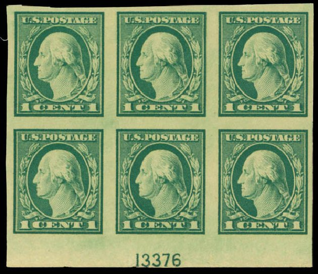 US Stamps Values Scott Catalog # 481: 1c 1916 Washington Imperf. Daniel Kelleher Auctions, Mar 2013, Sale 635, Lot 551