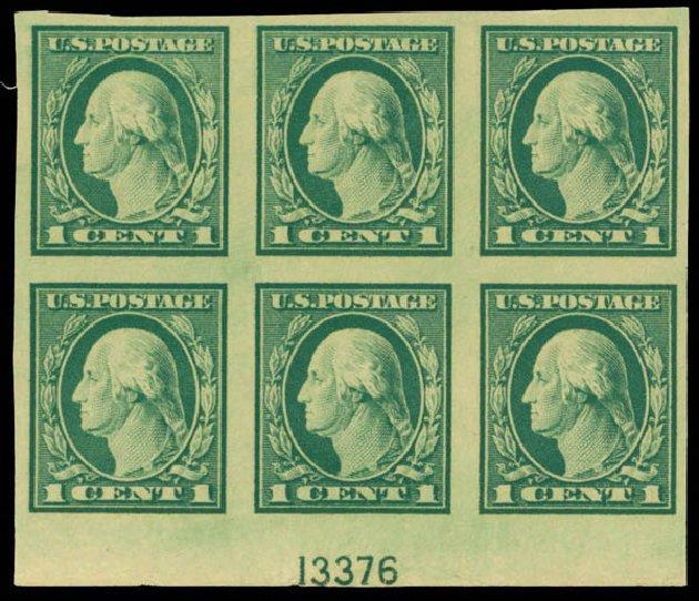 US Stamps Values Scott Catalog # 481: 1c 1916 Washington Imperf. Daniel Kelleher Auctions, Mar 2013, Sale 635, Lot 551