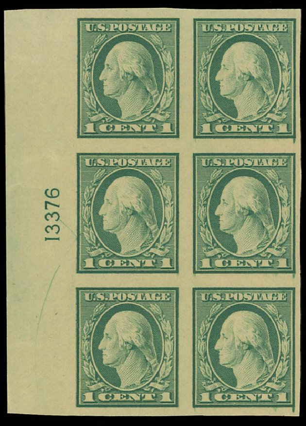 US Stamp Value Scott # 481: 1916 1c Washington Imperf. Daniel Kelleher Auctions, Aug 2012, Sale 631, Lot 1236