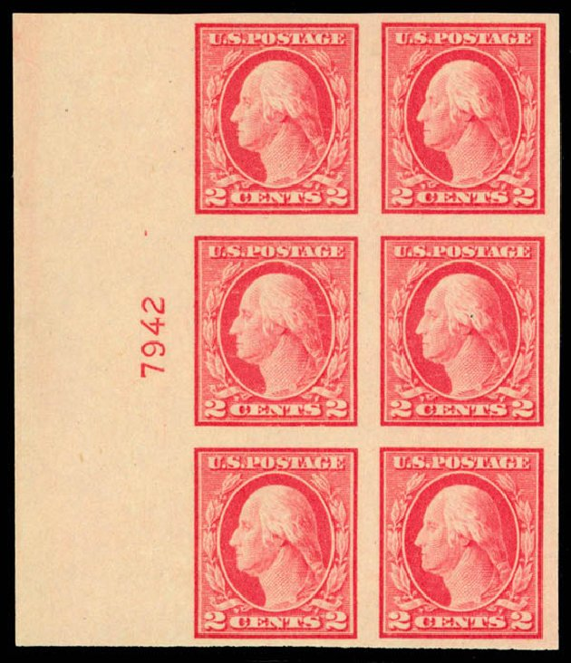 US Stamp Values Scott Cat. 482 - 2c 1916 Washington Imperf. Daniel Kelleher Auctions, Apr 2013, Sale 636, Lot 369