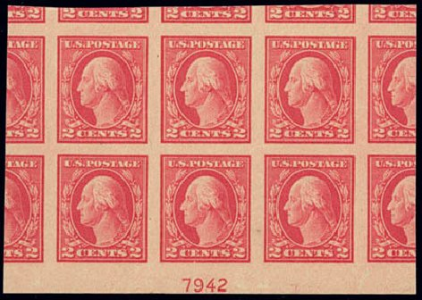 US Stamps Value Scott Catalog 482 - 2c 1916 Washington Imperf. Daniel Kelleher Auctions, Feb 2013, Sale 634, Lot 306