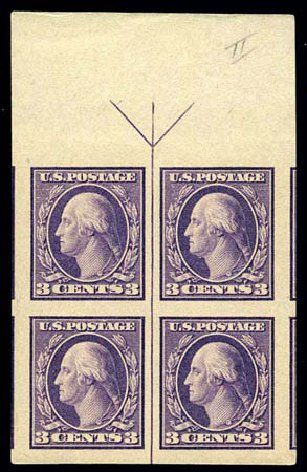 Values of US Stamps Scott Cat. 484 - 3c 1917 Washington Imperf. Harmer-Schau Auction Galleries, Jun 2008, Sale 78, Lot 1587