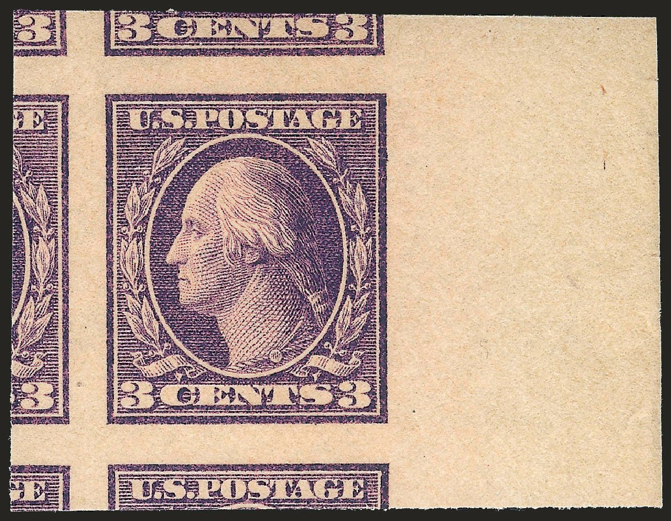 US Stamp Value Scott Catalogue 484: 1917 3c Washington Imperf. Robert Siegel Auction Galleries, Sep 2009, Sale 976, Lot 2087