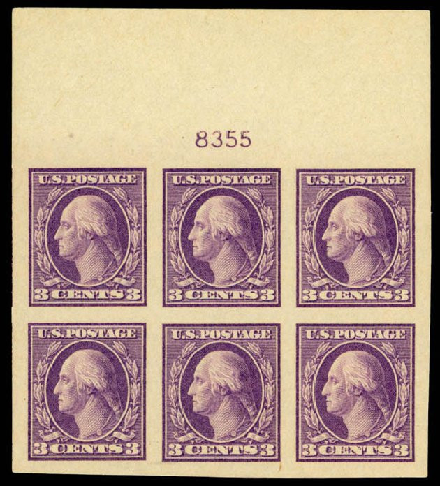 Costs of US Stamps Scott Catalog 484 - 3c 1917 Washington Imperf. Daniel Kelleher Auctions, Apr 2013, Sale 636, Lot 371