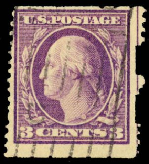 US Stamp Values Scott Catalog #484: 1917 3c Washington Imperf. Daniel Kelleher Auctions, Aug 2015, Sale 672, Lot 2761